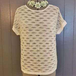 Chicos White and Silver Short Sleeve Sweater
